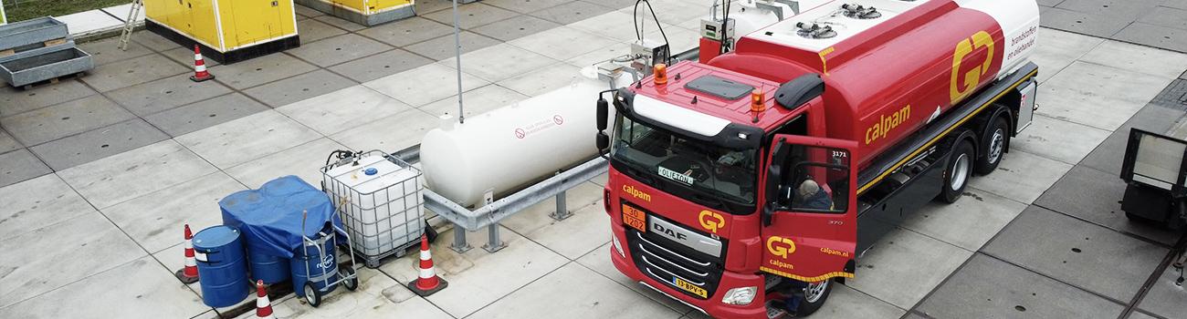 Bovenaanzicht van tankwagen GP Groot