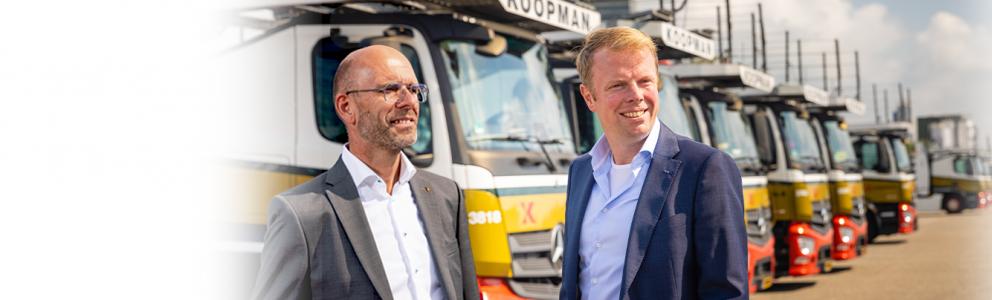 portret van Wouter Renkema en Klaas Buist voor wagenpark Koopman Logistics Group